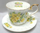 Beautiful New Vintage Lefton  February  Cup & Saucer  2003 Yellow Flowers