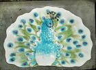 FITZ AND FLOYD PEACOCK PLATTER OVAL EDIE ROSE EARTHENWARE BLUE WHITE FEATHERS