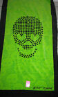 Betsey Johnson Polka Dot SKULL green black cotton Beach Towel Extra Large 35x 66