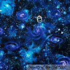 BonEful Fabric FQ Cotton Quilt Blue Purple White Galaxy Solar System Space Star