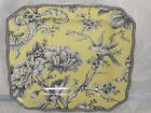 222 FIFTH ADELAIDE YELLOW FRENCH TOILE BIRD SQUARE SALAD PLATES SET OF 2 NEW
