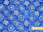 Stonehenge Starry Night Blue Snowflake Christmas Northcott Fabric by the 1 2 Yd