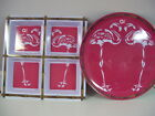 Picnic Flamingo Serving Tray and Large 4-Section Condiment Tray, Melamine, New