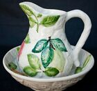 Hand painted Ceramic Bowl & Pitcher from Portugal, Vestal Alcobasa
