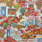 BonEful FABRIC FQ Cotton Quilt Rainbow Flower Tulip S Town Shop French Cafe City
