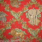 Red African Animals Fabric John Kessler Concord USA Elephants Jaguars Lions