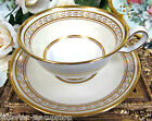 COPELAND SPODE 1890'S TEA CUP AND SAUCER RAISED AND BEADED GOLD  A/F