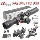 AIM SPORTS 2 7X32MM LONG EYE RELIEF SCOUT SCOPE WITH RED LASER  DUPLEX RETICLE