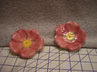 2 Miniature Daisy Flower Ceramic Butter Pat Dish Tea Bag Holder Bar Soap Candles