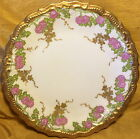 Antique LIMOGES France Scalloped Gold Gilt Plate: Flowers & Painted Raised Dots