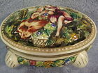 Capodimonte Italy Trinket Box 2 Girls w/Flower Basket