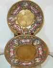 Superb Pair of Antique Hand Painted Capodimonte Porcelain Plates w All-over Gold
