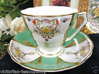 RADFORDS TEA CUP AND SAUCER GREEN AND FLORAL TEACUP BEADED