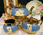 GIBSONS ENGLAND BLUE AND GOLD TEAPOT CUPID GREEK RAISED DESIGN TEASET