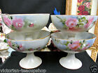 ROYAL AUSTRIA PAINTED ROSES SET OF 4 FOOTED BERRY BOWLS SHERBERT CUPS