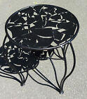 Abstract Round Metal Side Table w/Openwork Top & Cabriole Wrought Iron Legs