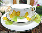 ANTIQUE  TEA CUP AND SAUCER 1890's painted BABY CHICKS TRIO RARE DESIGN