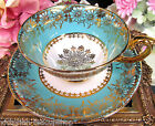 ROYAL GRAFTON TEA CUP AND SAUCER BABY BLUE  BEADED GOLD * FLORAL TEACUP PATTERN