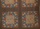 HAMPSHIRE HOUSE BROWN BLUE FLORAL PANEL FABRIC 21x21 ~ 16 Blocks for Pillows