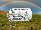 RAINBOW BRIDGE Pet Memorial Keychain Cat or Dog Personalized FREE