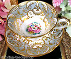 ANTIQUE TEA CUP AND SAUCER COALPORT PAINTED FLORAL c.1850 GOLD #5490