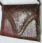 Authentic Vintage 1940's Purse Hand Bag Genuine Alligator Skin Leather Handmade