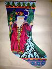 Vtg Peter Ashe Christmas Stocking Needlepoint Canvas Father Frost + DMC Thread