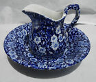 ROYAL STAFFORDSHIRE CROWNFORD CALICO BLUE CHINTZ BOWL SYRUP PITCHER  ENGLAND