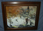 MORRIS KATZ  ORIGINAL OIL PAINTING  1981  SKIER  APPROX 25 X 21 FRAMED
