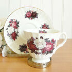 English Fine Bone Tea China Cup & Saucer / Peony Garden Flowers / Golden Crown