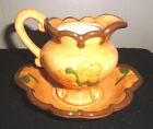 beautiful small VINTAGE flower porcelain water pitcher with saucer plate/ bowl.