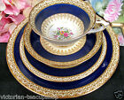 PARAGON TEA CUP AND SAUCER TRIO & PLATE GRECIAN BLUE PATTERN FLORAL TEACUP