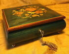 Vtg SORRENTO Italian Inlaid Wood Reuge Music/Jewelry Lock Box w Key