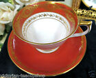 AYNSLEY TEA CUP AND SAUCER ORANGE  & GOLD GILT PATTERN TEACUP