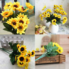 Fake Silk Artificial 13 Heads Sunflower Flower Bouquet Floral Garden Home Decor