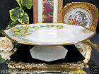 LIMOGES FRANCE HANDPAINTED SIGNED FOOTED CAKE STAND PLATE ROSES