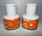 Mid Century Vintage White Porcelain Lidded Jar Set Orange Green Daisies Flowers