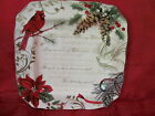 222 FIFTH HOLIDAY WISHES POINSETTIA CARDINAL CHRISTMAS DINNER PLATES SET OF 4