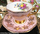 FOLEY TEA CUP AND SAUCER PINK & GOLD FLORAL ROSES PATTERN TEACUP