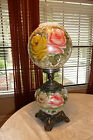 Vintage Hurricane Gone with the Wind Lamp Hand Painted Roses Floral 3 way light