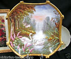 LIMOGES FRANCE HAND PAINTED SWAN SWANS CHARGER CASTLE LAKE SCENE SIGNED ROCHE