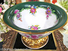 RARE DRESDEN PAINTED FLORAL FOOTED BOWL GOLD GILT WORK MARKED
