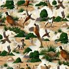 Pheasants and Hunting Dogs Cotton Fabric Fat Quarter