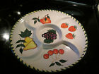Large Divided Ceramic Relish Serving Dish Platter Hand Painted Fruit 12