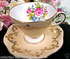 FOLEY TEA CUP AND SAUCER PEACH & FLORAL GOLD PATTERN TEACUP