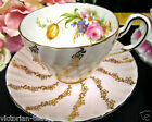 FOLEY TEA CUP AND SAUCER PINK & GOLD TEACUP SWIRLS FLORAL PATTERN