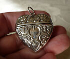 Solid silver 925 Heart shaped hinged vesta case or pill box