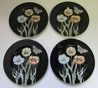 Set of 4 FITZ & FLOYD MIDNIGHT POPPY Black Salad Dessert Plates JAPAN New In Box