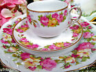 LIMOGES FRANCE TEA CUP AND SAUCER ROSES PATTERN SILESA PLATE TEACUP