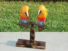 BEAUTIFUL PARROTS WOOD HAND PAINTED CARVED BIRD TROPICAL DECOR FREE SHIP